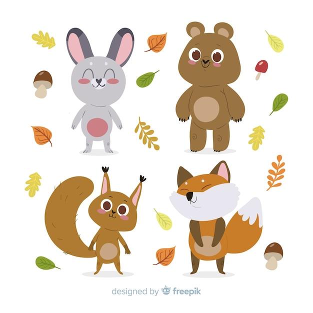 Плоский дизайн осенних лесных животных Бесплатные векторы