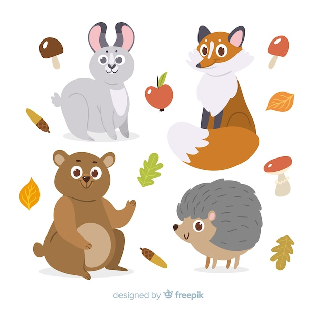 Flat design autumn forest animals Free Vector