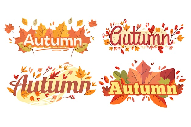 Flat design autumn label collection Free Vector