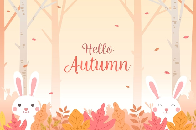 Flat design autumn leaves background with bunnies Premium Vector