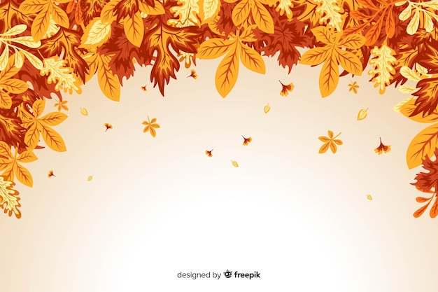 Flat design of autumn leaves background Free Vector
