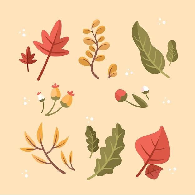 Плоский дизайн коллекции осенних листьев Бесплатные векторы