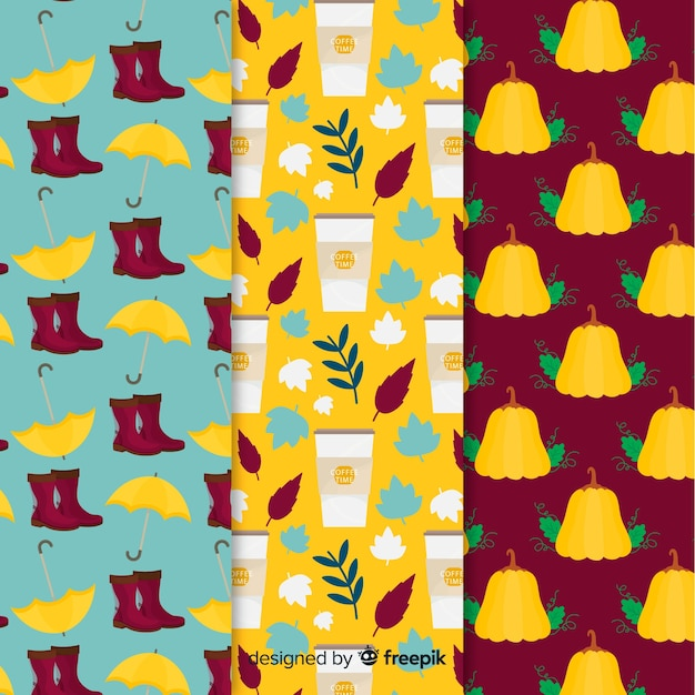 Flat design autumn pattern collection Free Vector