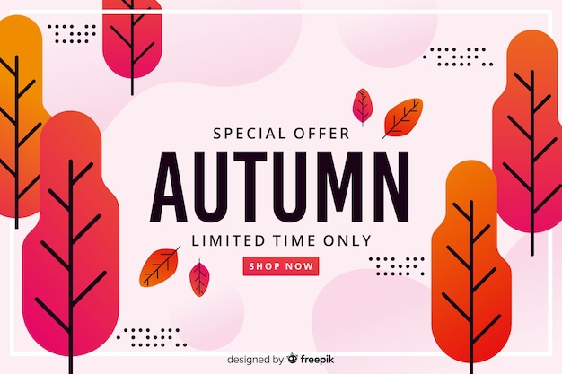 Flat design autumn sale background Free Vector
