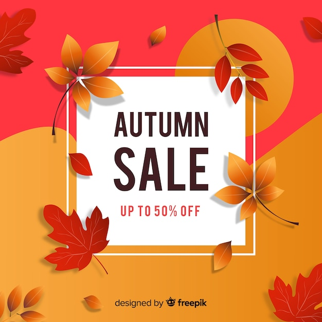 Flat design autumn sale banner Free Vector