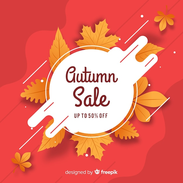 Flat design autumn sale banner Free Vector