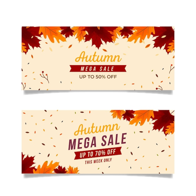 Flat design autumn sale banners pack Free Vector