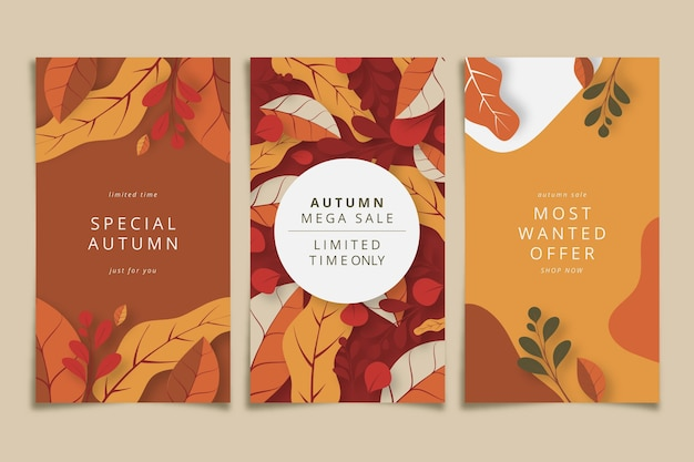 Flat design autumn sale banners Premium Vector