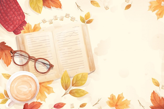 Flat design autumnal background with book and glasses Free Vector