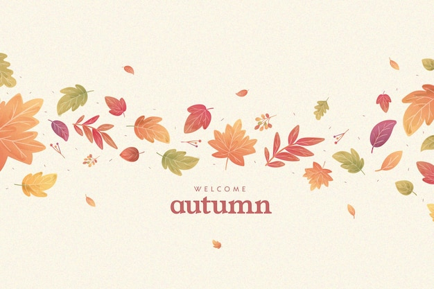 Flat design autumnal leaves background Free Vector