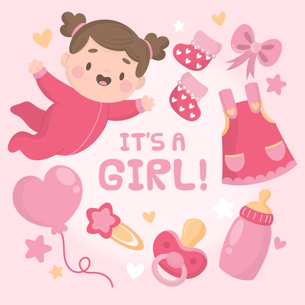 Flat design baby girl shower Free Vector