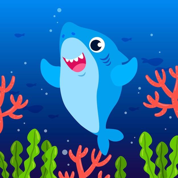 Flat design baby shark in cartoon style Free Vector