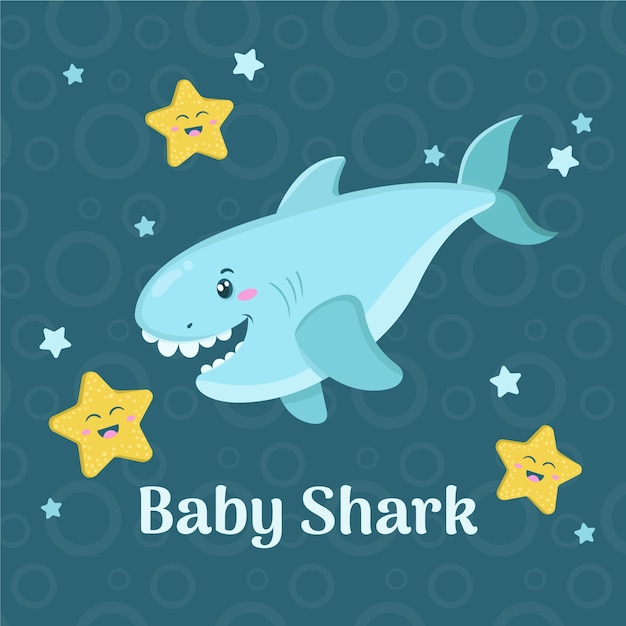 Flat design baby shark in cartoon style Free Vector