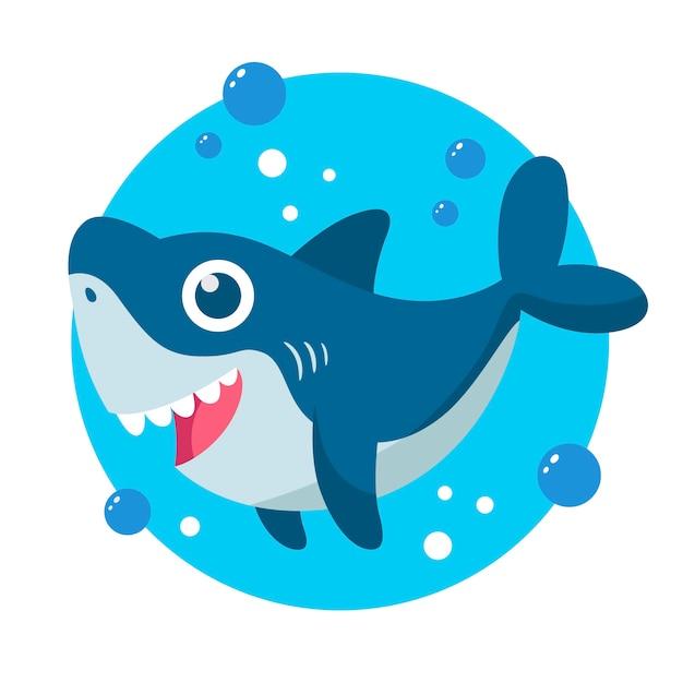Плоский дизайн детская акула в мультяшном стиле Premium векторы