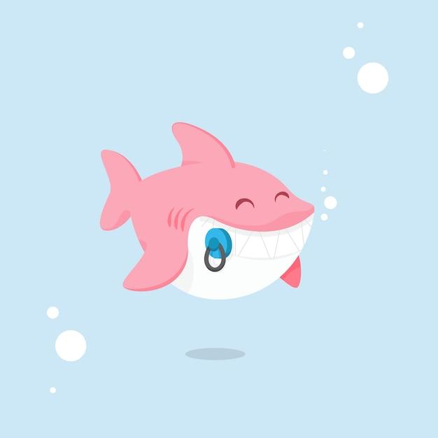 Design piatto baby squalo sfumature rosa stile cartoon Vettore gratuito