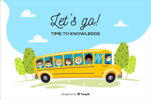 Flat design back to school background Free Vector