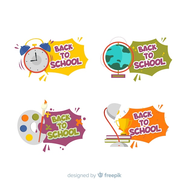 Flat design back to school badge collection Premium Vector