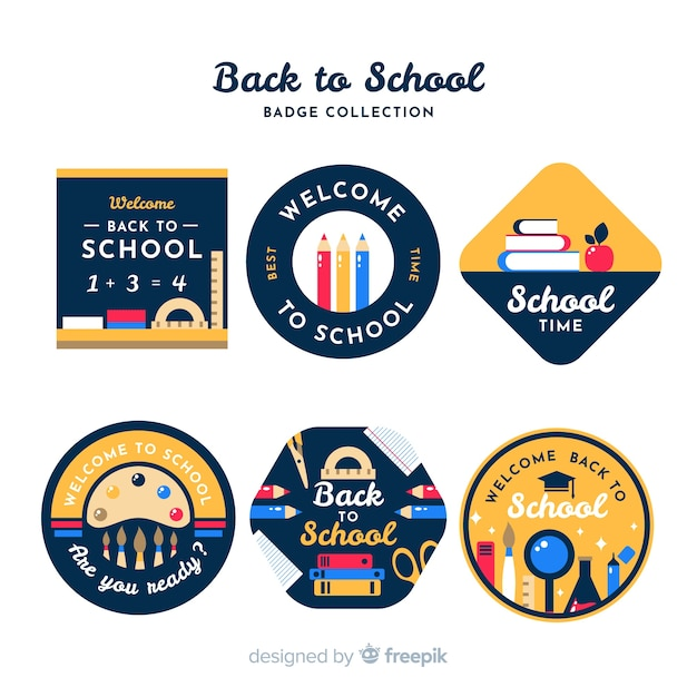 Flat design back to school badge collection Free Vector