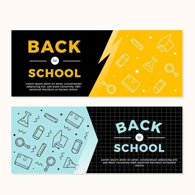 Design piatto torna al modello di banner di scuola Vettore gratuito