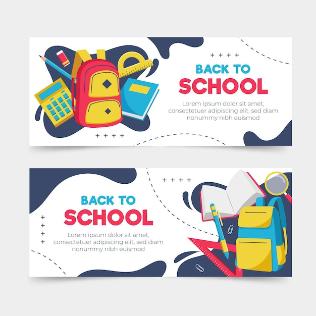 Flat design back to school banners Free Vector
