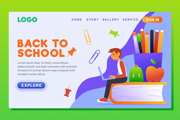 Flat design back to school landing page Free Vector