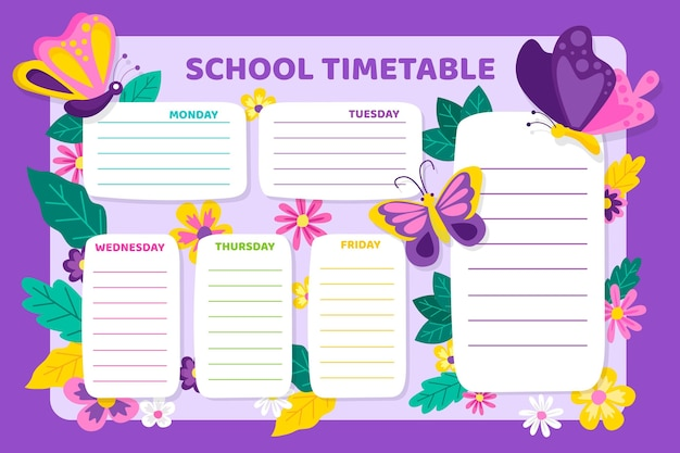 Flat design back to school timetable with butterflies Free Vector