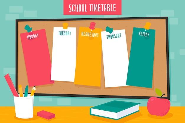 Flat design back to school timetable Premium Vector