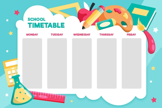 Flat design back to school timetable Free Vector
