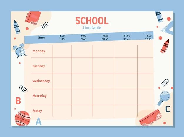 Design piatto torna all'orario scolastico Vettore gratuito