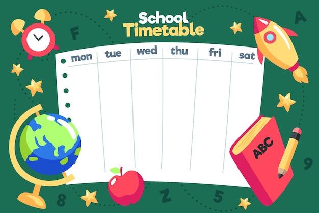 学校の時間割テンプレートに戻るフラットなデザイン Premiumベクター