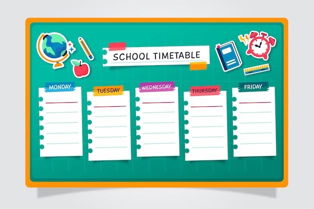 Плоский дизайн обратно в школьное расписание Premium векторы