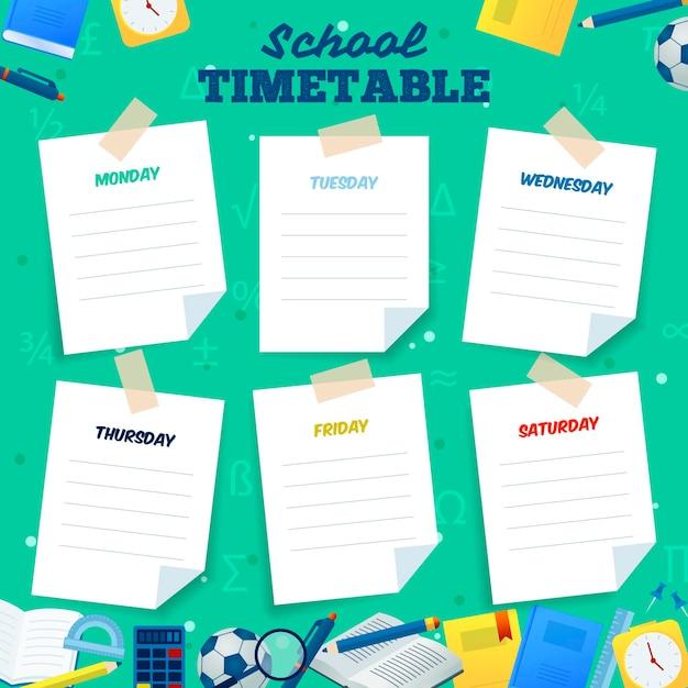 Плоский дизайн обратно в школьное расписание Бесплатные векторы