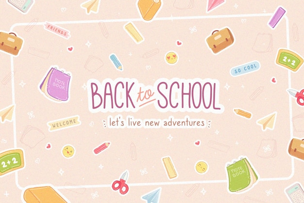 Flat design background back to school Free Vector