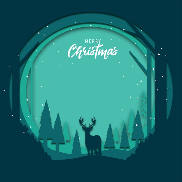 Flat design background for christmas with papercut art Premium Vector