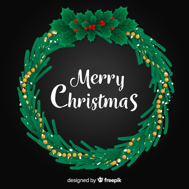 Flat design background christmas wreath Free Vector