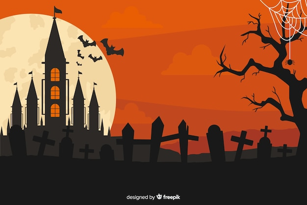 Flat design background for halloween Free Vector