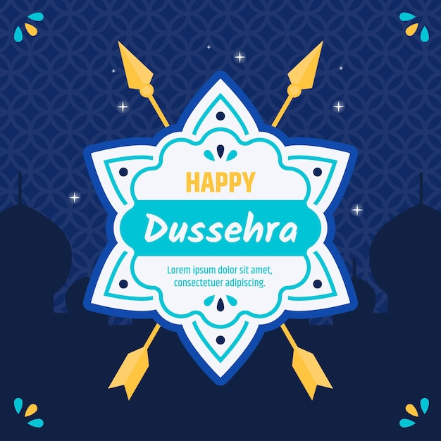 Flat design background happy dussehra with arrows Free Vector
