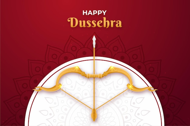 Flat design background happy dussehra with bow and arrow Premium Vector
