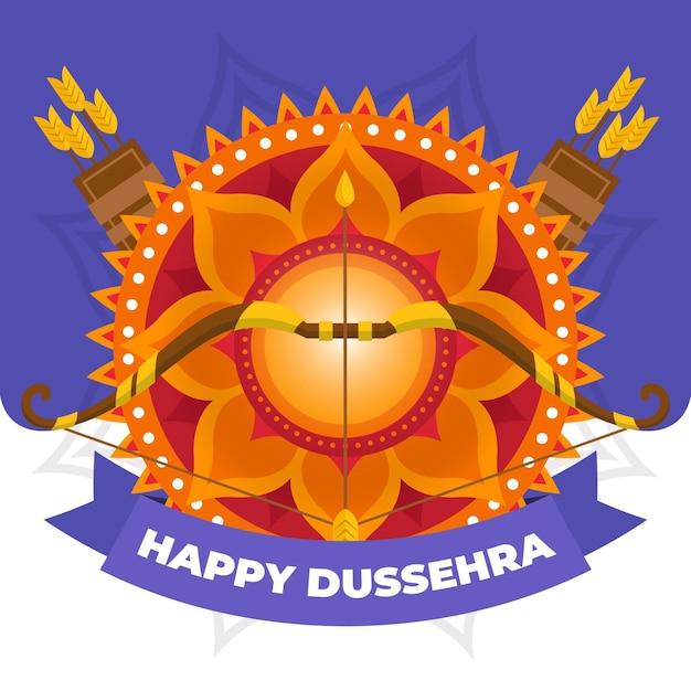 Flat design background happy dussehra with quivers Premium Vector