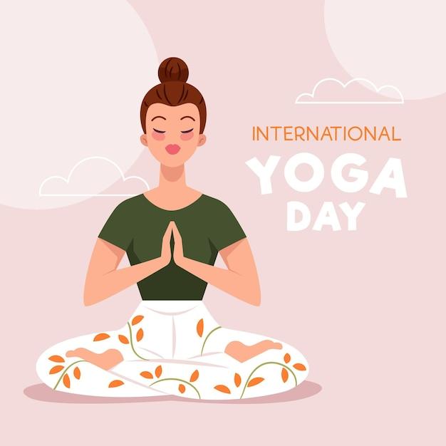 Плоский дизайн фона международный день йоги Бесплатные векторы