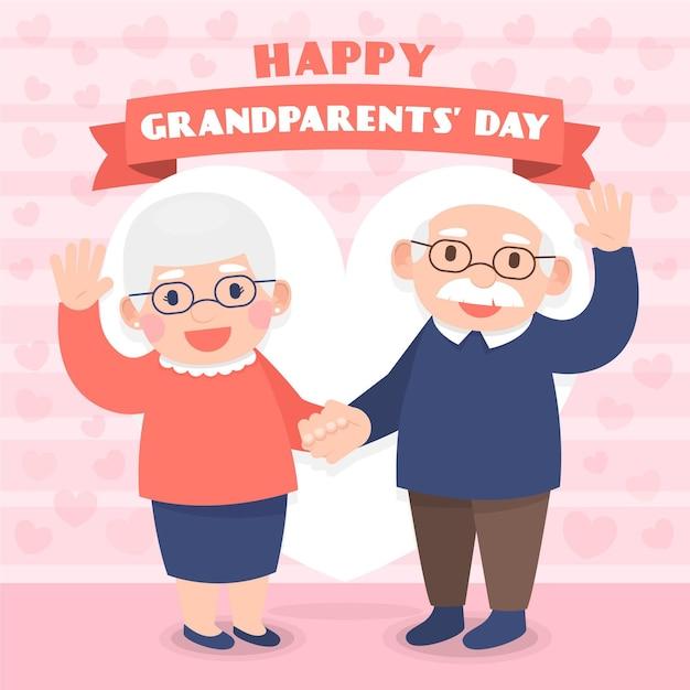 フラットなデザインの背景の祖父母の日 無料ベクター