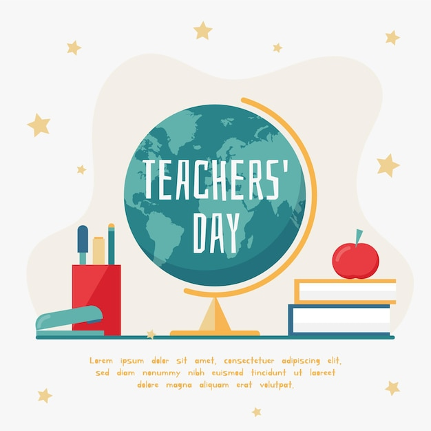 Flat design background teachers' day with earth globe Free Vector