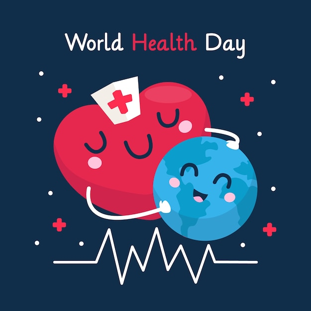Flat design background world health day Free Vector