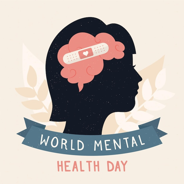 Flat design background world mental health day with brain and band-aid Free Vector