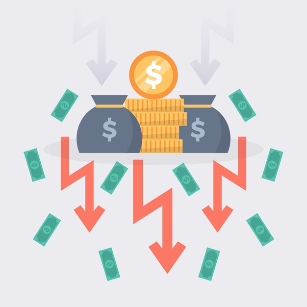 Flat design bankruptcy concept with money falling Free Vector