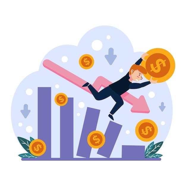 Flat design bankruptcy illustration theme Free Vector