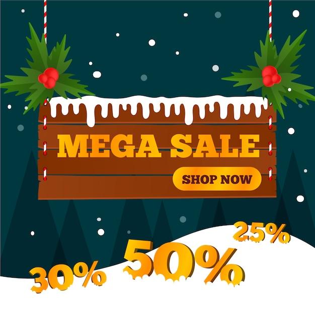 Flat design banner christmas mega sale Free Vector