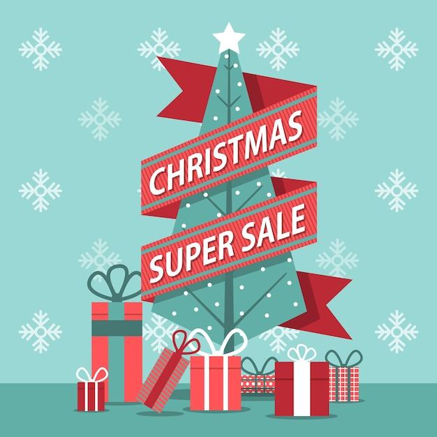 Flat design banner christmas super sale Free Vector