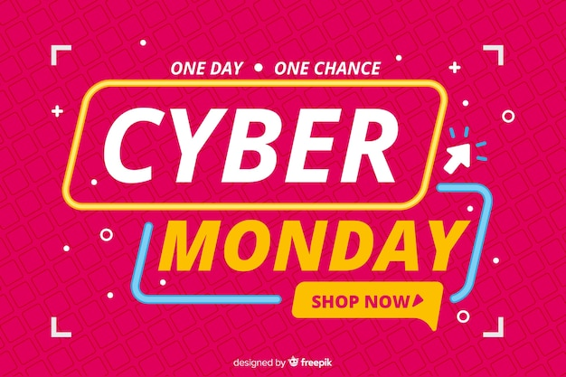 Flat design banner cyber monday sale Free Vector