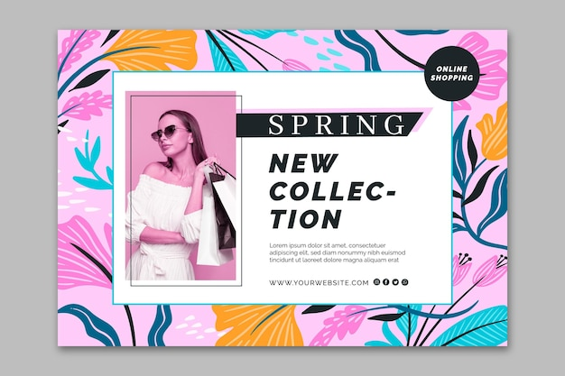 Flat design banner spring sale template Free Vector